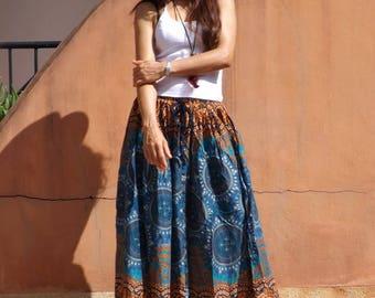 Maxi Skirt ....Long Skirt ....Full Length Skirt...Soft and Floaty..Printed Fabric
