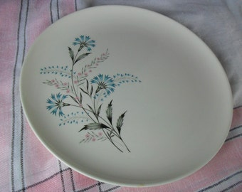 Vintage 'Versatile' Taylor Smith Taylor Dinner Plate * Aqua Blue Bachelor Button