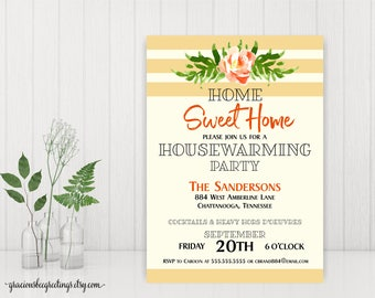Housewarming Party Invitations, New Home Party Invitations, Home Sweet Home Invite, New Home Open House Invite, digital. printable, H32003