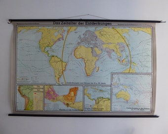 Large Original Vintage World Map - The Age Of Discoveries- Large School Wall Map of Earth - Westermann 1960s