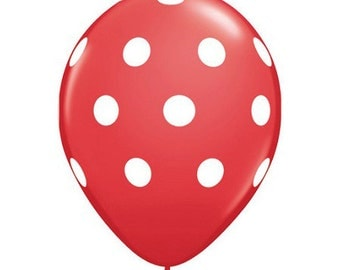 "Red and White polka dot Print 11"" Balloons birthday party decorations"