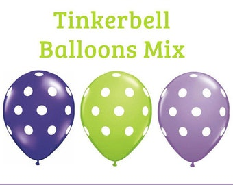 "Tinkerbell polka dot Print 11"" Balloons birthday party decorations purple lime green lavender"