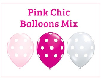 "Pink Chic polka dot Print 11"" Balloons birthday party decorations hot pink white pink wedding bridal shower baby shower"