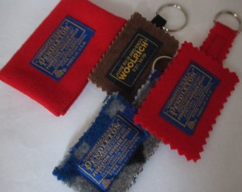 lot of 4  Pendleton wool and Woolrich accessories keychain and business credit card holder