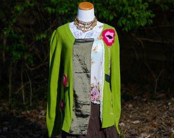 Boho Clothing, Altered Couture, Upcycled Clothing, Refashioned Clothing, Altered Clothing, Sweater for Women, Embellished Top, Size Large