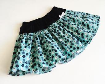 Aqua and Navy Floral Twirly Skirt