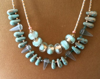 Two Strand Aqua and Gold Foil Necklace