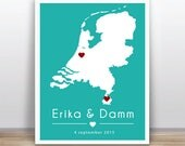 Custom map Wedding Gift Personalized Anniversary or Wedding Custom - Any State or Country  -
