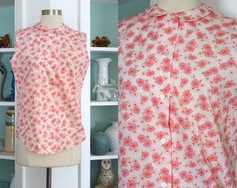 1950s Pink Blouse / Vintage 50s Light Pink and White Floral Daisy Print Cotton Blouse / Sleeveless Top / Rockabilly / Peter Pan Collar - S/M