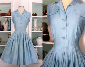 1950s Day Dress / Vintage 50s Tabak California Baby Blue Brushed Cotton Sateen Pleated Full Skirt Casual Dress / Rockabilly / Sock Hop - S