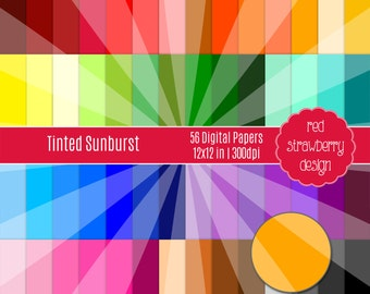 75% OFF Sale - 56 Digital Papers - Tinted Sunburst - Instant Download - JPG 12x12 (DP212)