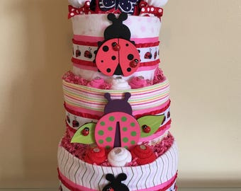 Little Miss Ladybug Red and Pink Baby Girl Diaper Cake