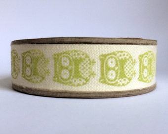 1m Owl bird print fabric cotton ribbon trim tape - lime green yellow - 1 metre