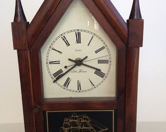 Beautiful Antique Seth Thomas Mantle Clock / Quartz Clock with Ship Themes in Case with Spires