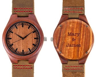 Wooden Watch / red sandal wood Wristwatch - engraved with personal text - Gift for Him/Her, Anniversary, Wedding gift, birthday gift