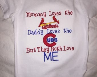 Cardinals Cubs House Divided Baby Bodysuit