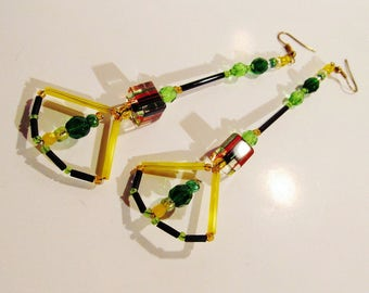 Long/WIRE/Beaded/GLASS/EARRINGS/ Black/Yellow/Green/Red/Striped/Cane/ Swarovski/Crystal/Fall/Lady/Handblown/ Teen/Women/Jewelry/Gift/For/Her