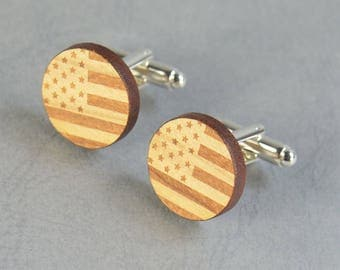 Wood USA Flag cuff links ,US Flag cufflinks,American Flag Men accessories -Mens gift