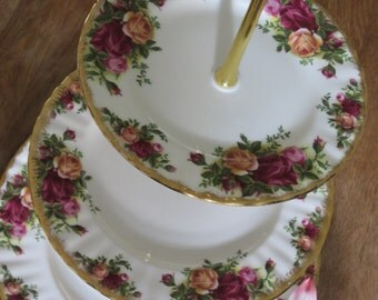 Royal Albert Cake Stand 1, 2, or 3 tiered Old Country Roses Red Yellow Roses Gold