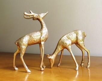 Vintage Brass Deer Figurines, Brass Figurines, Brass Doe and Buck, Deer Family, Woodland Brass Animal, Reindeer Statues, Pair, Couple