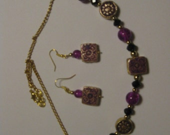 Purple Floral Necklace and Earrings Set