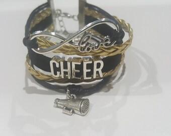 New cheerleader cheer Infinity Love Bracelet Gold and Black