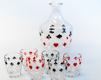 50s playing card decanter and glasses
