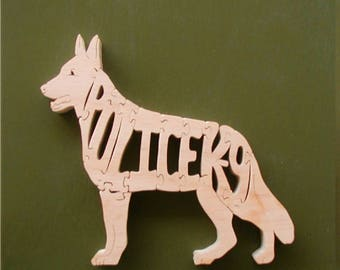 Police K-9 Collector's Wood Puzzle ( German Shepherd) Cut On Scroll Saw Woodworking