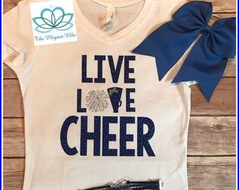 Girls Cheer shirt, cheer top, cheerleader clothes, cheerleader shirt, Live Love CHEER top, cheerleader shirt