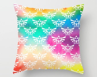 Zelda Pillow Cover, Legend of Zelda Pillow Cover, Triforce on Watercolor Pillow Cover, Hylian Royal Crest Pillow Cover, Zelda Cushion Cover