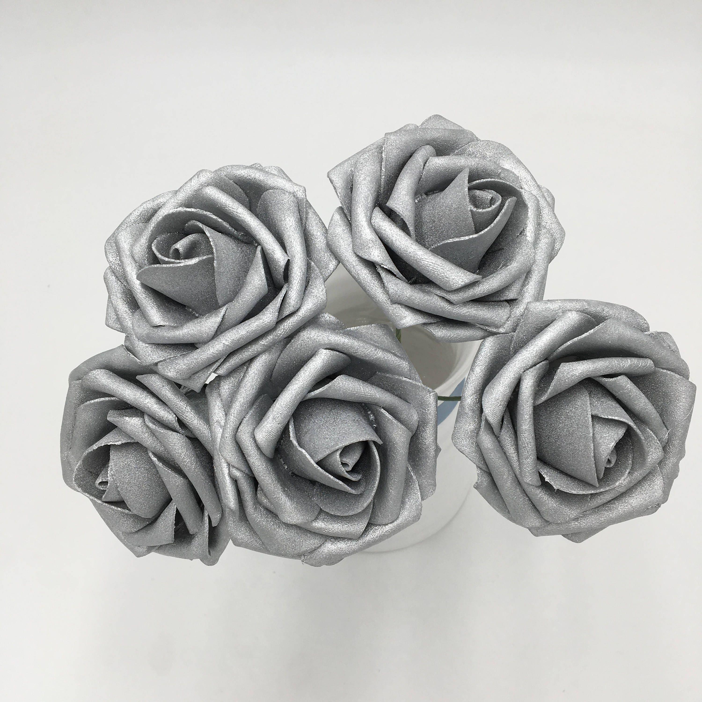 Artificial Flowers Silver Roses Fake Foam Flowers 8cm3