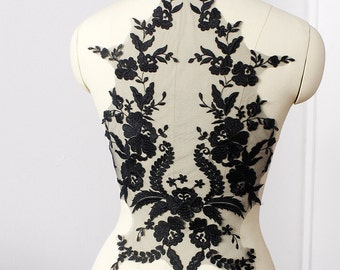 black Lace Applique,  embroidered bodice lace applique, lace bodice for bridal dress altering