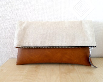Leather and linen clutch purse, Vegan leather clutch,  Colorblock clutch, Toffee, Caramel brown, Cognac brown, Honey brown zipper clutch