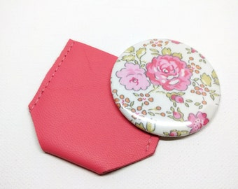 Liberty Felicite pink pocket Mirror & pink Leather case