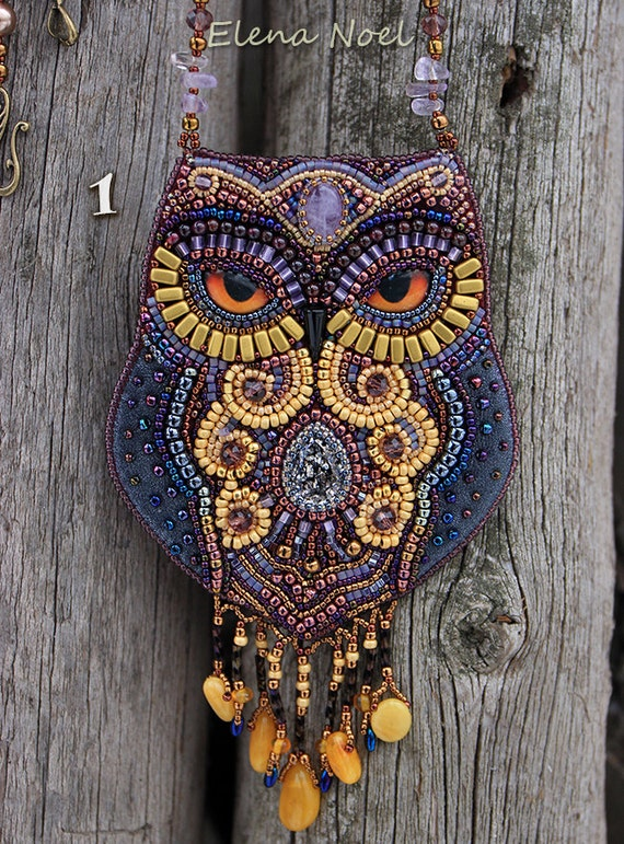 New fabulous amethyst owl beaded necklace with by