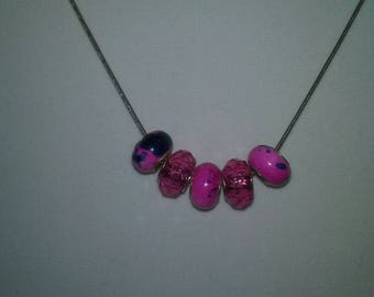 Handmade Fuchsia Pink Faceted & Smooth European Style Large Hole Acrylic Beads On Silver Snake Chain Necklace Fashion Jewelry Accessory Gift