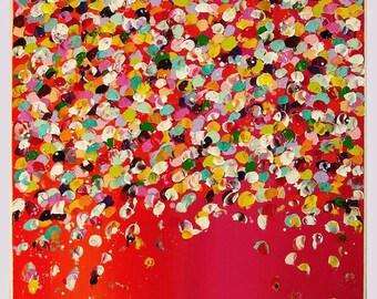 "Painting, Nice Acrylic Painting, Wall Art by M.Schöneberg ""Flower rain""24x24x0,75"