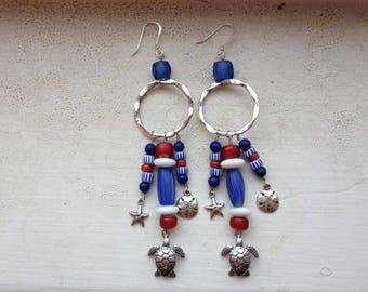 Nautical Red White & Blue Vintage Charm Earrings