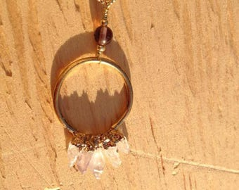 Amethyst Spike Ring Pendant Necklace