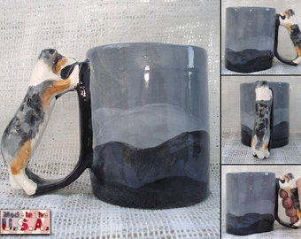 Dog Handle Mug Merle Rough Collie Mug Shetland Sheepdog Mug Herding Dog Handle Cup Sheltie Novelty Drinkware