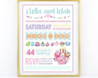 "Shopkins Theme Birthday Invitation Girls party - personalised 5""x7"" - Modern, Contemporary - Printable, Digital"