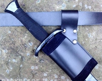 Larp sword scabbard, velvet lined leather for Larp and Cosplay