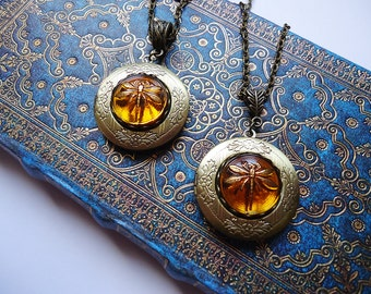 Locket Dragonfly in Amber Outlander Inspired Necklace - Gift For Her