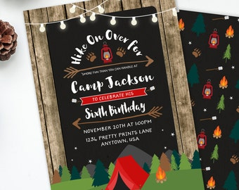 Camping Invitation, Camp Birthday Invitation, Boys Birthday Party, Rustic Birthday, Camping Party, Sleepover Invite, Printable Invite, #73