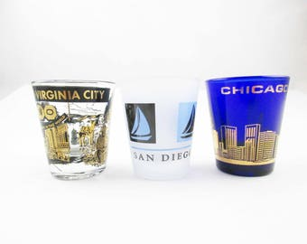Your Choice - Shot Glasses - Lake Tahoe, Reno, Virginia City OR San Diego OR Chicago - Collectible Barware - Great Gift
