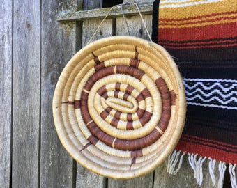 Vintage woven grass basket Round wall basket Wall hanging Home decor Aztec wall basket