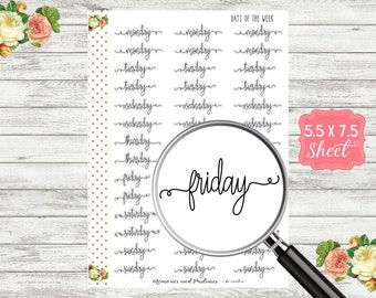 Days of the Week Planner Stickers - Script Stickers - Cursive Stickers - BUJO Stickers, Bullet Journal Stickers, Travelers Notebook Stickers