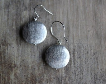 Silver Drop Earrings With Argentium Sterling Silver / Titanium Earwires