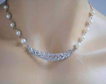 Crystal Bridal Necklace, Pearl Wedding Necklace, Bridesmaid Necklace, Swarovski Necklace, Pearl Necklace, Bridal Necklace