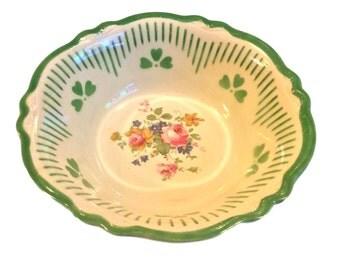 Homer Laughlin Virginia Rose, Green Clover, Vintage Serving Bowl, Mid Century, Gift Idea